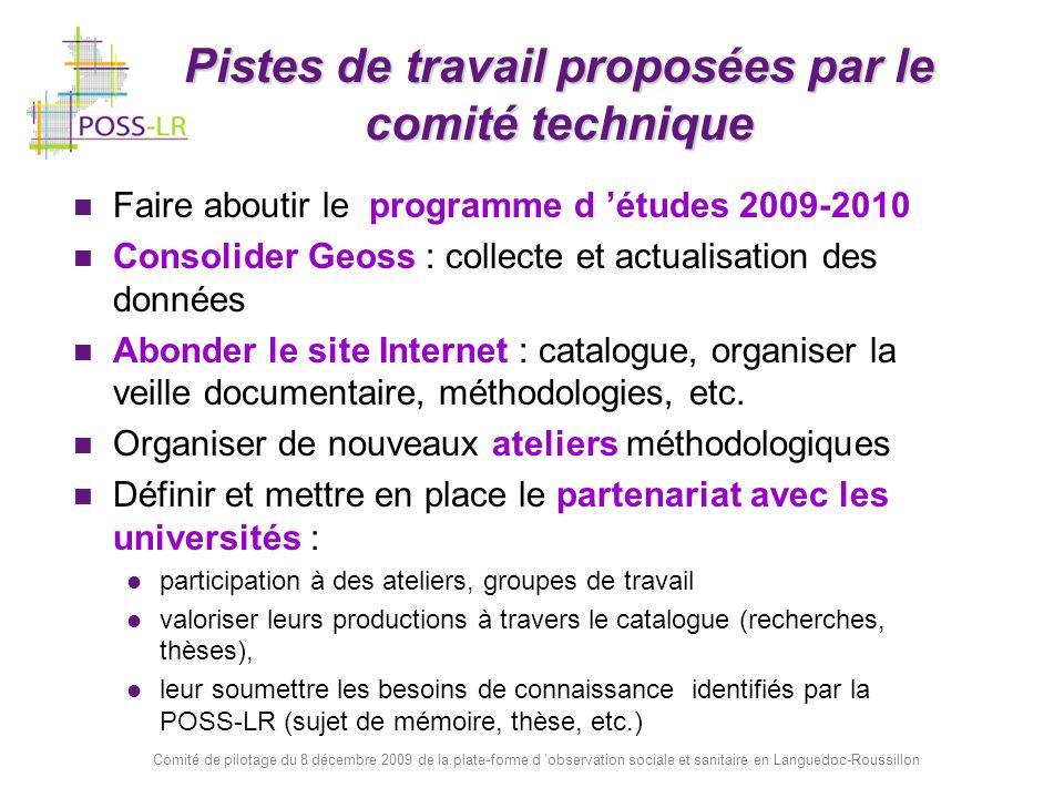 Comité de pilotage du 8 décembre 2009 de la plate-forme d observation sociale et sanitaire en Languedoc-Roussillon Pistes de travail proposées par le