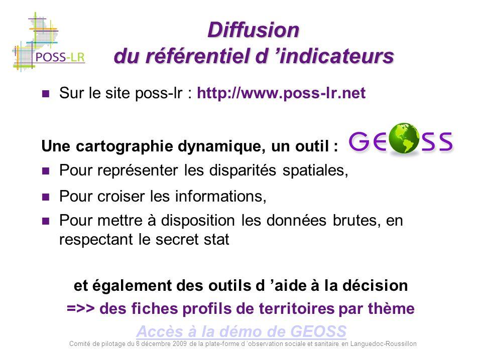 Comité de pilotage du 8 décembre 2009 de la plate-forme d observation sociale et sanitaire en Languedoc-Roussillon Diffusion du référentiel d indicate