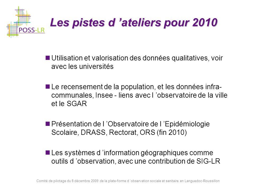 Comité de pilotage du 8 décembre 2009 de la plate-forme d observation sociale et sanitaire en Languedoc-Roussillon Les pistes d ateliers pour 2010 Uti