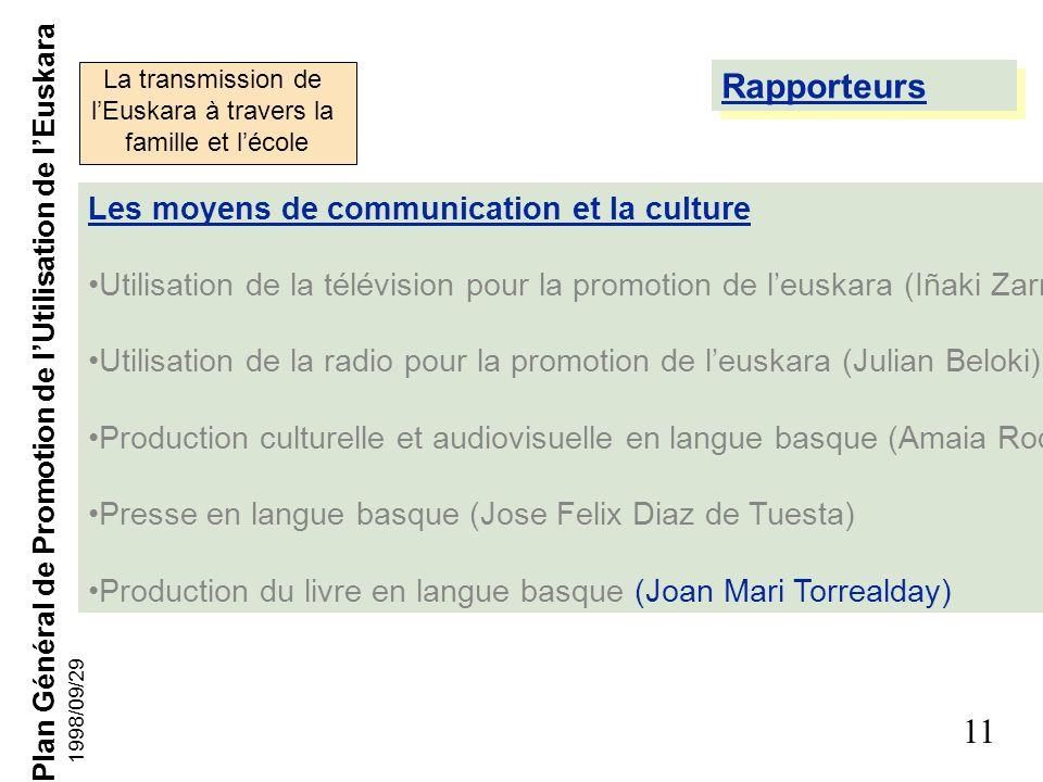Plan Général de Promotion de lUtilisation de lEuskara 10 1998/09/29 Membres de la Commission La transmission de lEuskara à travers la famille et lécol