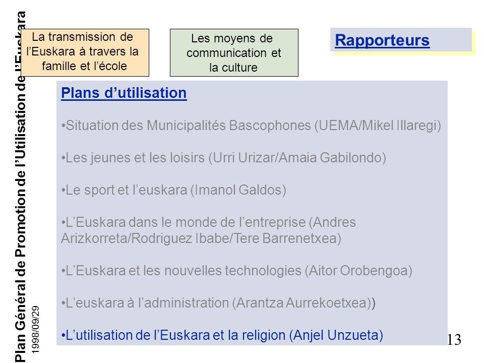 Plan Général de Promotion de lUtilisation de lEuskara 12 1998/09/29 Membres de la Commission La transmission de lEuskara à travers la famille et lécol