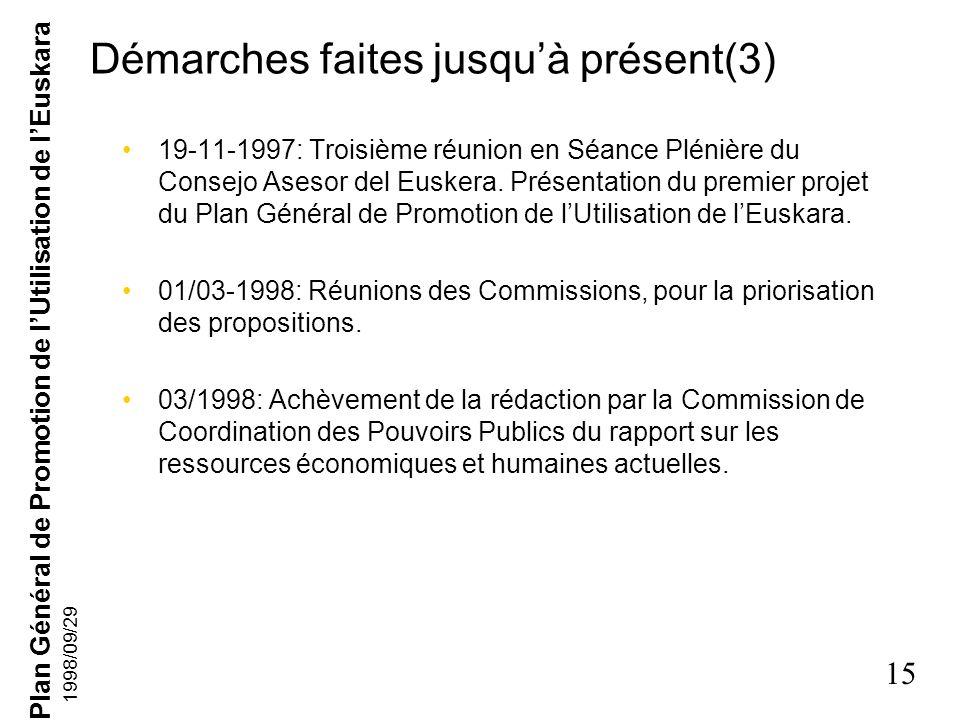 Plan Général de Promotion de lUtilisation de lEuskara 14 1998/09/29 Démarches faites jusquà présent(2) 01-1997: Présentation des rapports aux Commissi