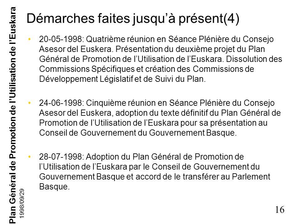 Plan Général de Promotion de lUtilisation de lEuskara 15 1998/09/29 Démarches faites jusquà présent(3) 19-11-1997: Troisième réunion en Séance Plénièr