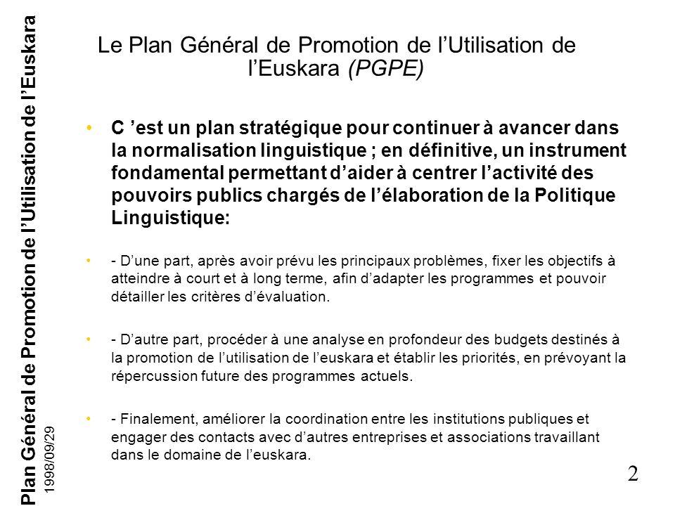 Plan Général de Promotion de lUtilisation de lEuskara 2 1998/09/29 Le Plan Général de Promotion de lUtilisation de lEuskara (PGPE) C est un plan stratégique pour continuer à avancer dans la normalisation linguistique ; en définitive, un instrument fondamental permettant daider à centrer lactivité des pouvoirs publics chargés de lélaboration de la Politique Linguistique: - Dune part, après avoir prévu les principaux problèmes, fixer les objectifs à atteindre à court et à long terme, afin dadapter les programmes et pouvoir détailler les critères dévaluation.