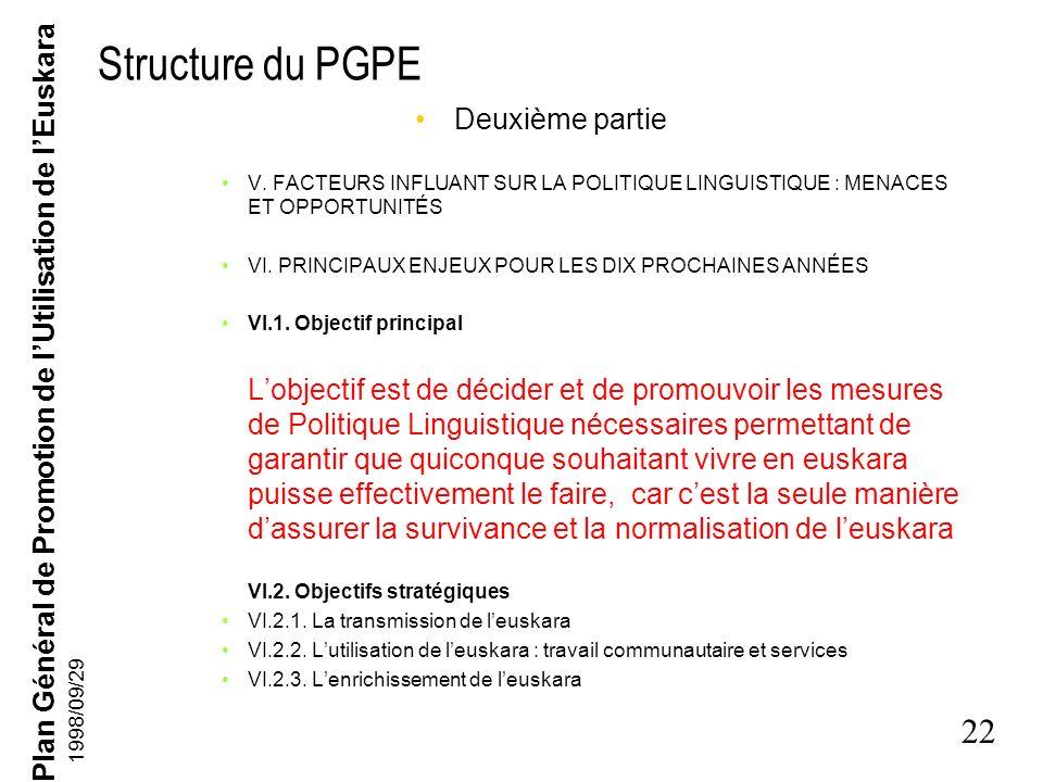 Plan Général de Promotion de lUtilisation de lEuskara 21 1998/09/29 Structure du PGPE Première partie DISCOURS DU LEHENDAKARI (Président du Gouverneme