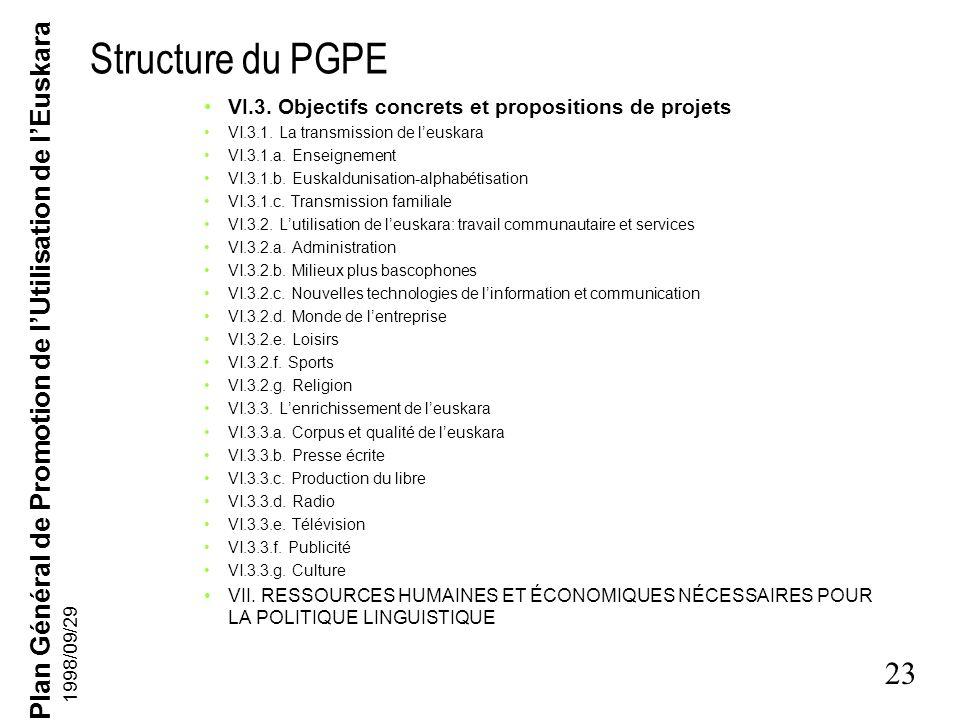 Plan Général de Promotion de lUtilisation de lEuskara 22 1998/09/29 Structure du PGPE Deuxième partie V. FACTEURS INFLUANT SUR LA POLITIQUE LINGUISTIQ