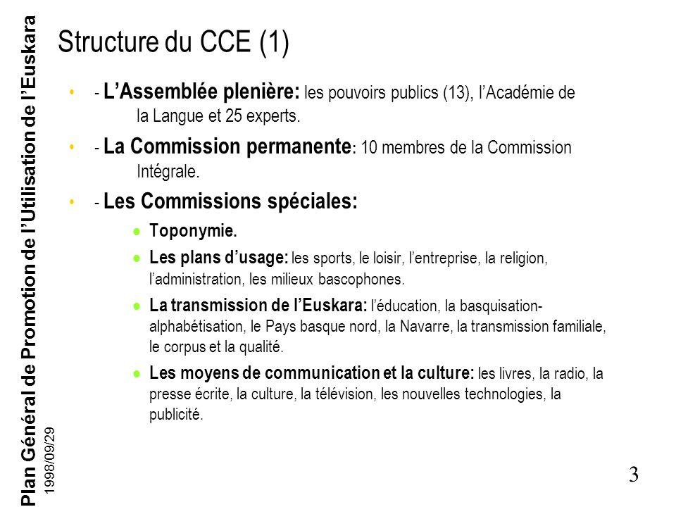 Plan Général de Promotion de lUtilisation de lEuskara 3 1998/09/29 Structure du CCE (1) - LAssemblée plenière: les pouvoirs publics (13), lAcadémie de la Langue et 25 experts.