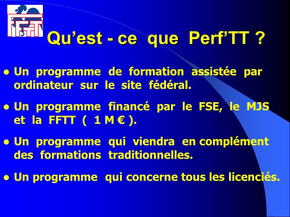 Quest - ce que PerfTT ? Quest - ce que PerfTT ? Un programme de formation assistée par ordinateur sur le site fédéral. Un programme financé par le FSE