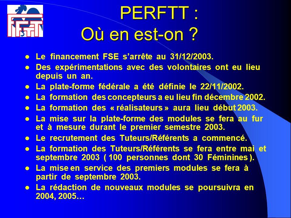 PERFTT : Où en est-on ? Le financement FSE sarrête au 31/12/2003. Des expérimentations avec des volontaires ont eu lieu depuis un an. La plate-forme f