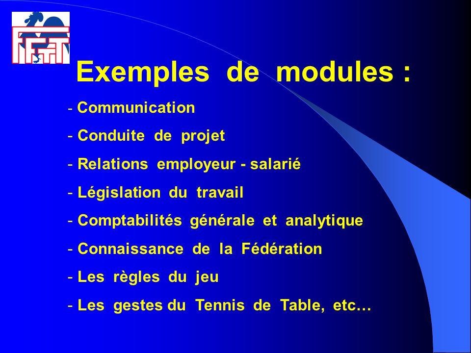 Exemples de modules : - Communication - Conduite de projet - Relations employeur - salarié - Législation du travail - Comptabilités générale et analyt
