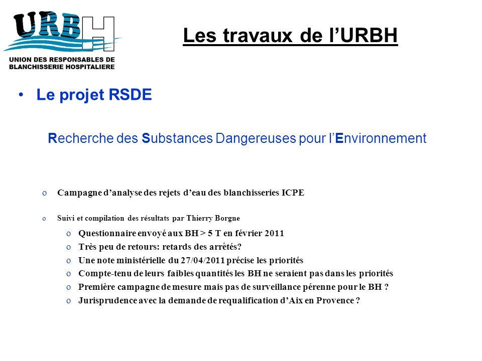 Le projet RSDE Recherche des Substances Dangereuses pour lEnvironnement oCampagne danalyse des rejets deau des blanchisseries ICPE oSuivi et compilati
