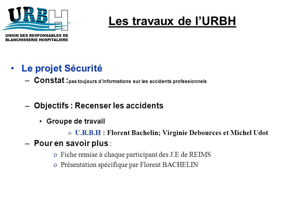 Le projet Sécurité –Constat : pas toujours dinformations sur les accidents professionnels –Objectifs : Recenser les accidents Groupe de travail »U.R.B