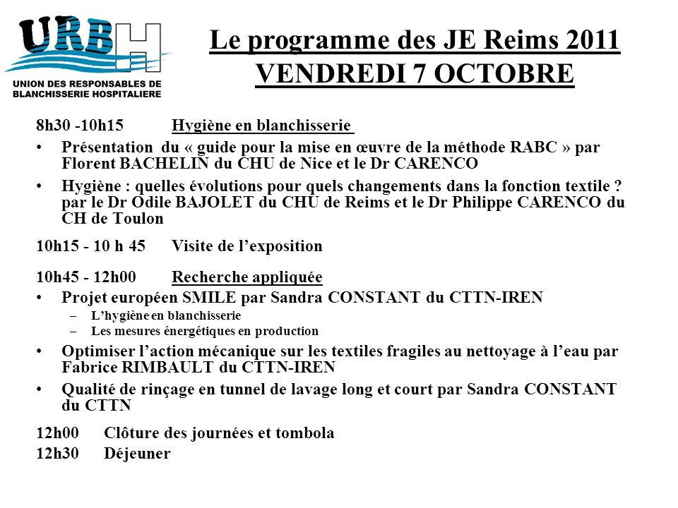 8h30 -10h15Hygiène en blanchisserie Présentation du « guide pour la mise en œuvre de la méthode RABC » par Florent BACHELIN du CHU de Nice et le Dr CA