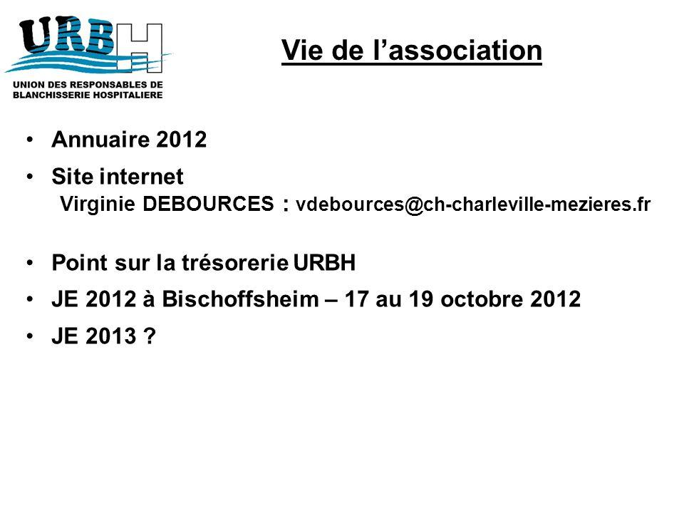 Annuaire 2012 Site internet Virginie DEBOURCES : vdebources@ch-charleville-mezieres.fr Point sur la trésorerie URBH JE 2012 à Bischoffsheim – 17 au 19