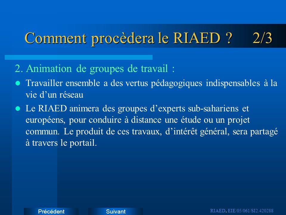 SuivantPrécédent Comment procèdera le RIAED ? 2/3 2. Animation de groupes de travail : Travailler ensemble a des vertus pédagogiques indispensables à