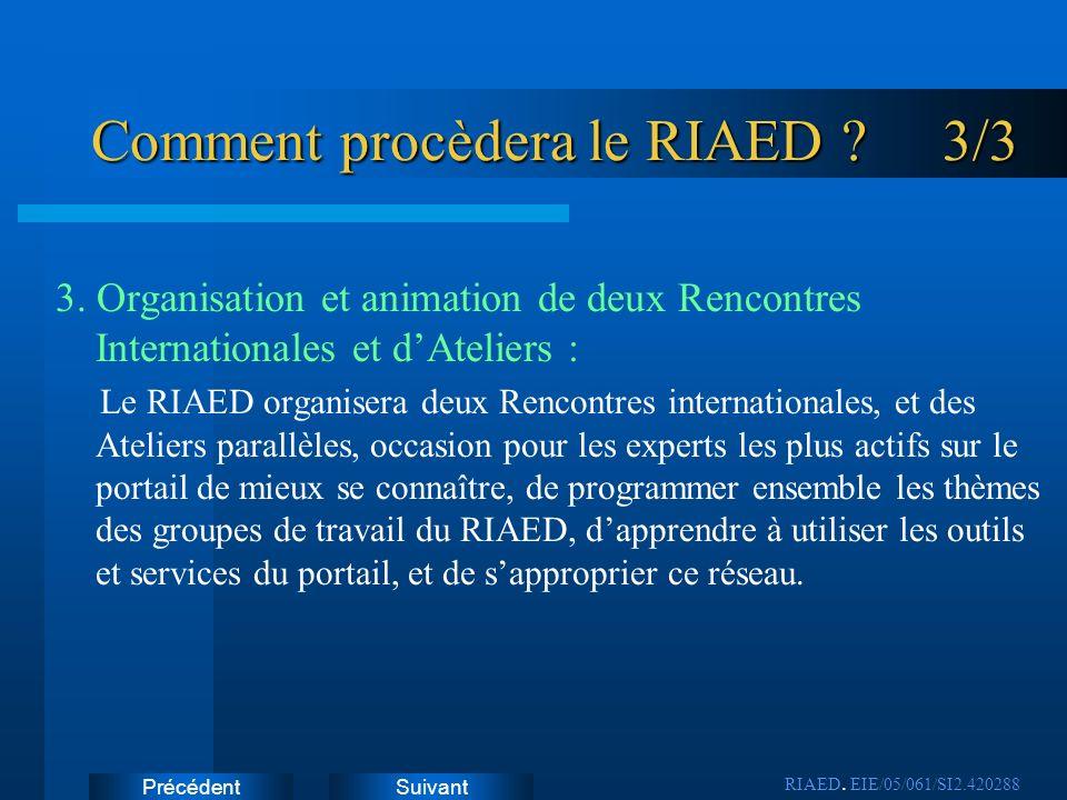 SuivantPrécédent Comment procèdera le RIAED ? 3/3 3. Organisation et animation de deux Rencontres Internationales et dAteliers : Le RIAED organisera d