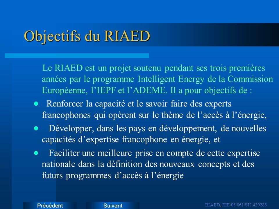 SuivantPrécédent Objectifs du RIAED Le RIAED est un projet soutenu pendant ses trois premières années par le programme Intelligent Energy de la Commis