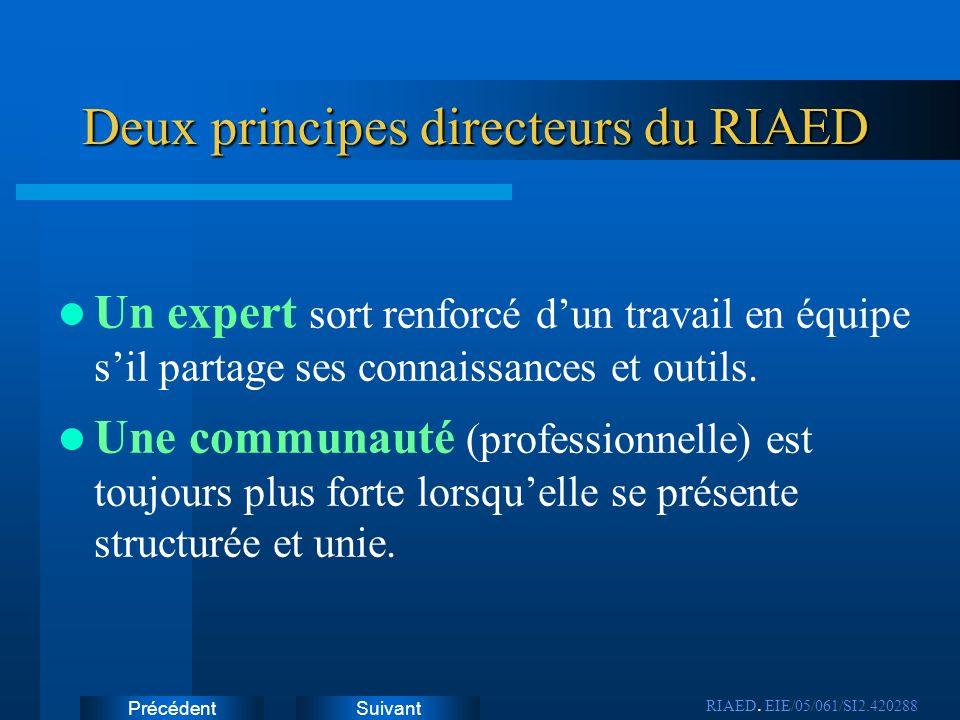 SuivantPrécédent Deux principes directeurs du RIAED Un expert sort renforcé dun travail en équipe sil partage ses connaissances et outils. Une communa