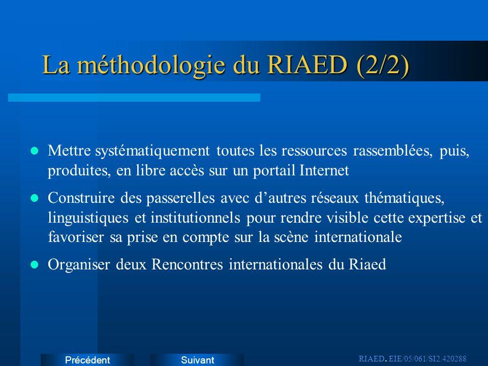 SuivantPrécédent Un réseau dexperts francophones Les membres du Riaed ne représentent pas une institution Le fonctionnement du réseau nest pas hiérarchisé, mais Il est structuré par une équipe projet, (objet de cette période de lancement) RIAED.