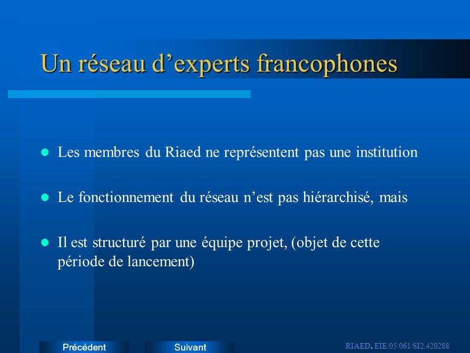 SuivantPrécédent Un réseau dexperts francophones Les membres du Riaed ne représentent pas une institution Le fonctionnement du réseau nest pas hiérarc