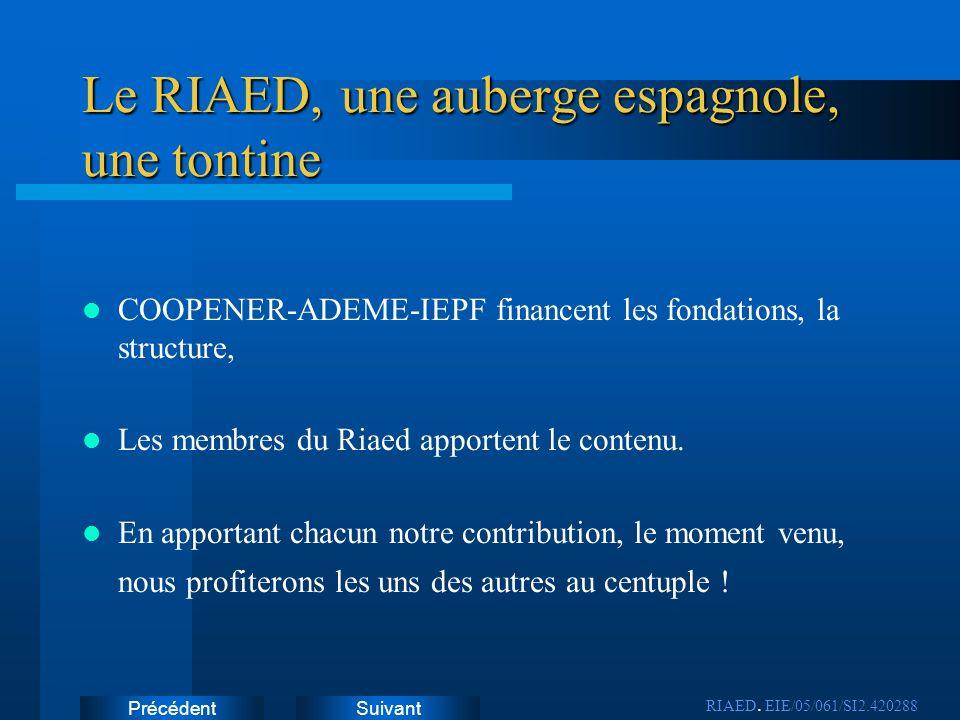 SuivantPrécédent Le RIAED, une auberge espagnole, une tontine COOPENER-ADEME-IEPF financent les fondations, la structure, Les membres du Riaed apporte