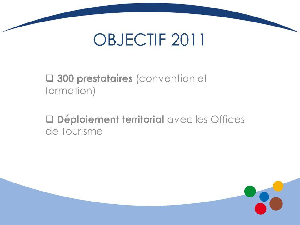 OBJECTIF 2011 300 prestataires (convention et formation) Déploiement territorial avec les Offices de Tourisme
