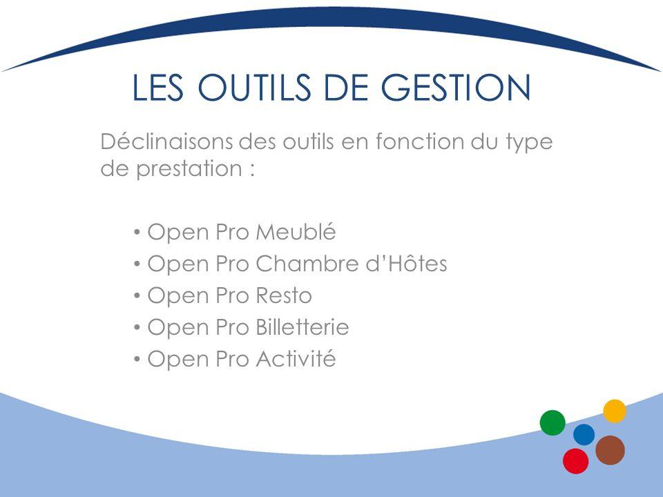 LES OUTILS DE GESTION Déclinaisons des outils en fonction du type de prestation : Open Pro Meublé Open Pro Chambre dHôtes Open Pro Resto Open Pro Bill