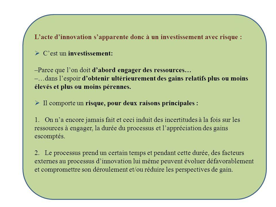 Lacte dinnovation sapparente donc à un investissement avec risque : Cest un investissement: –Parce que lon doit dabord engager des ressources… –…dans