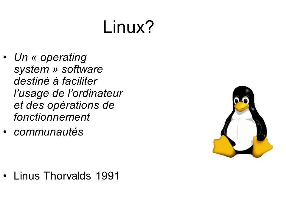 Linux? Un « operating system » software destiné à faciliter lusage de lordinateur et des opérations de fonctionnement communautés Linus Thorvalds 1991