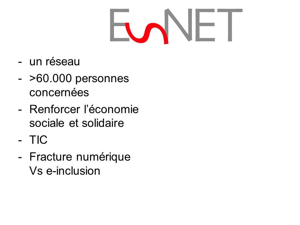 -un réseau ->60.000 personnes concernées -Renforcer léconomie sociale et solidaire -TIC -Fracture numérique Vs e-inclusion