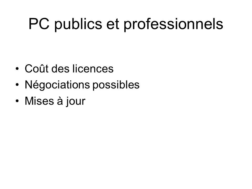 PC publics et professionnels Coût des licences Négociations possibles Mises à jour