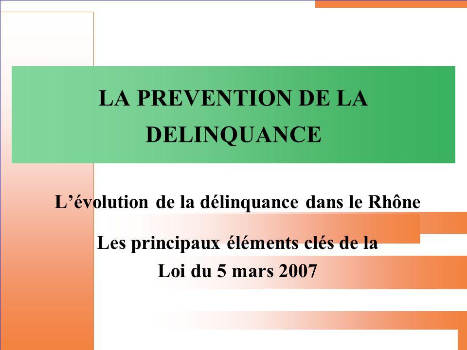 Évolution de la délinquance dans le Rhône 1994200220072008%94-08%07-08 France3.919.1044 115 0003.589.2933.558.329 -9% - 0,86% Dél.