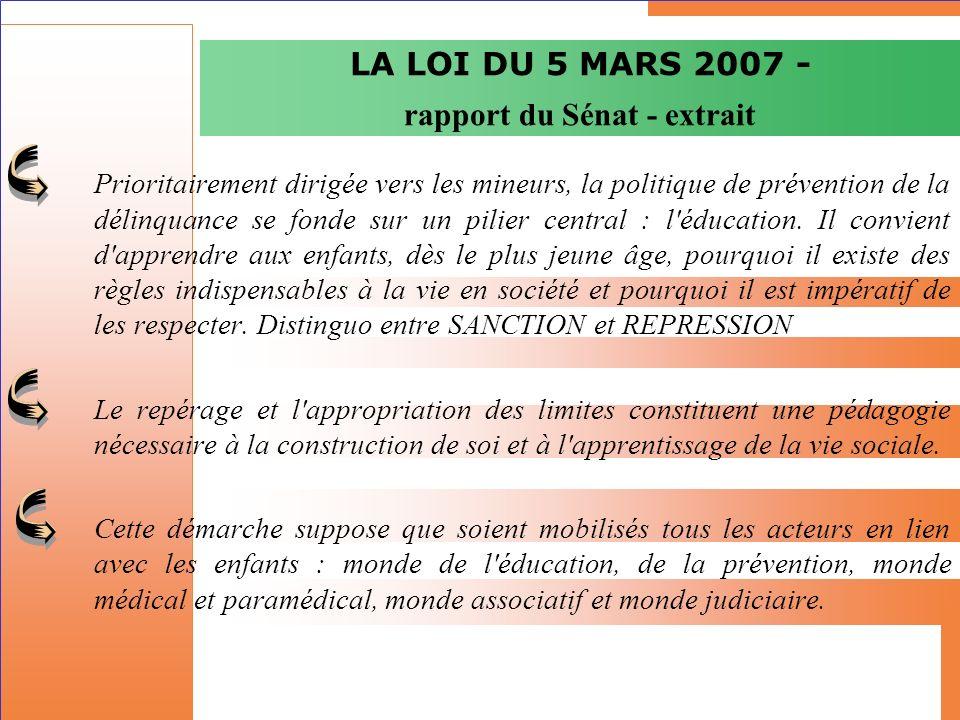 La loi du 5 mars 2007 Présentation générale Elément dune politique nationale qui sinscrit dans la conception française de la prévention de la délinquance : « un gouvernement des espaces » fondé sur la qualité urbaine (prévention situationnelle) et les échanges sociaux.