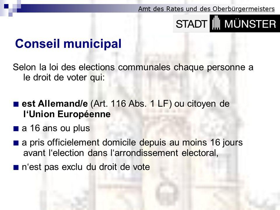 Amt des Rates und des Oberbürgermeisters Selon la loi des elections communales chaque personne a le droit de voter qui: est Allemand/e (Art. 116 Abs.
