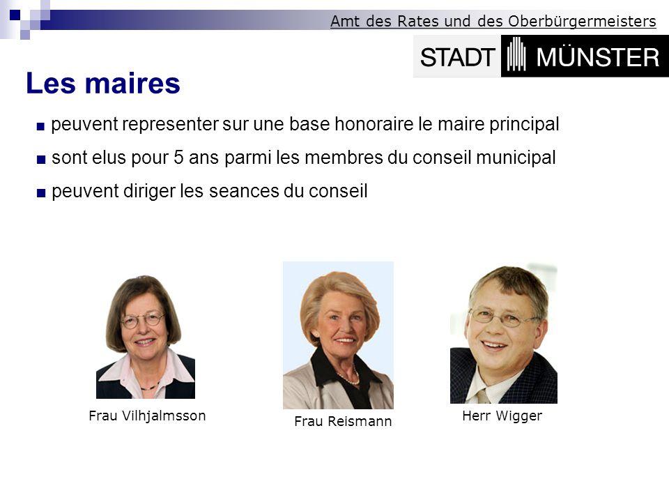 Amt des Rates und des Oberbürgermeisters Les maires peuvent representer sur une base honoraire le maire principal sont elus pour 5 ans parmi les membr