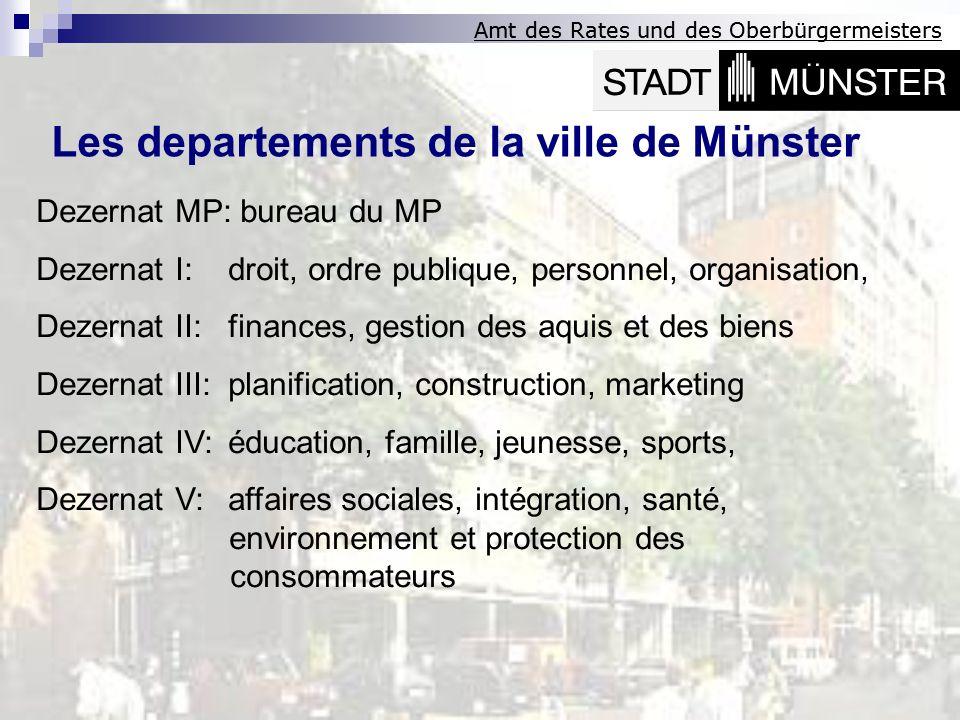 Amt des Rates und des Oberbürgermeisters Les departements de la ville de Münster Dezernat MP: bureau du MP Dezernat I:droit, ordre publique, personnel