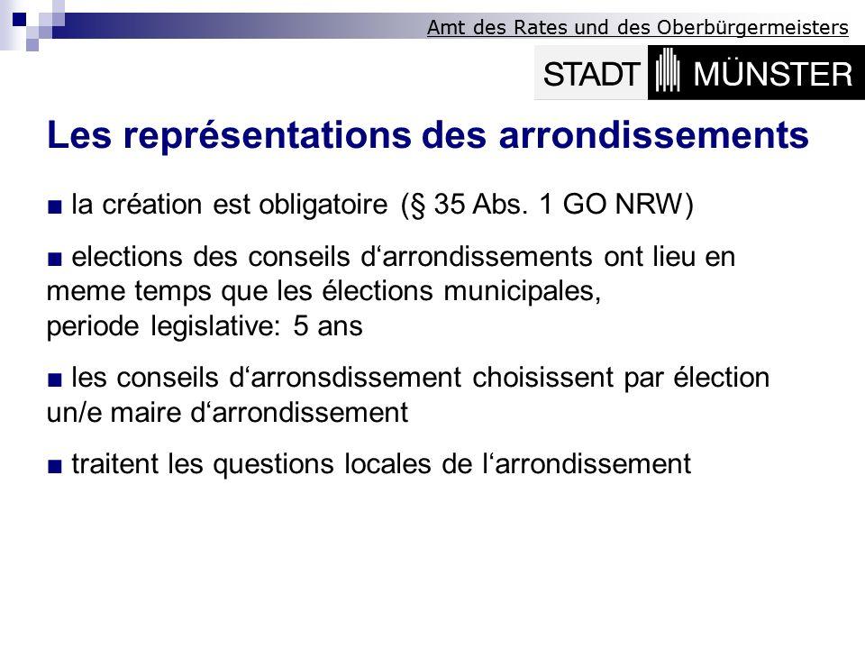 Amt des Rates und des Oberbürgermeisters Les représentations des arrondissements la création est obligatoire (§ 35 Abs. 1 GO NRW) elections des consei