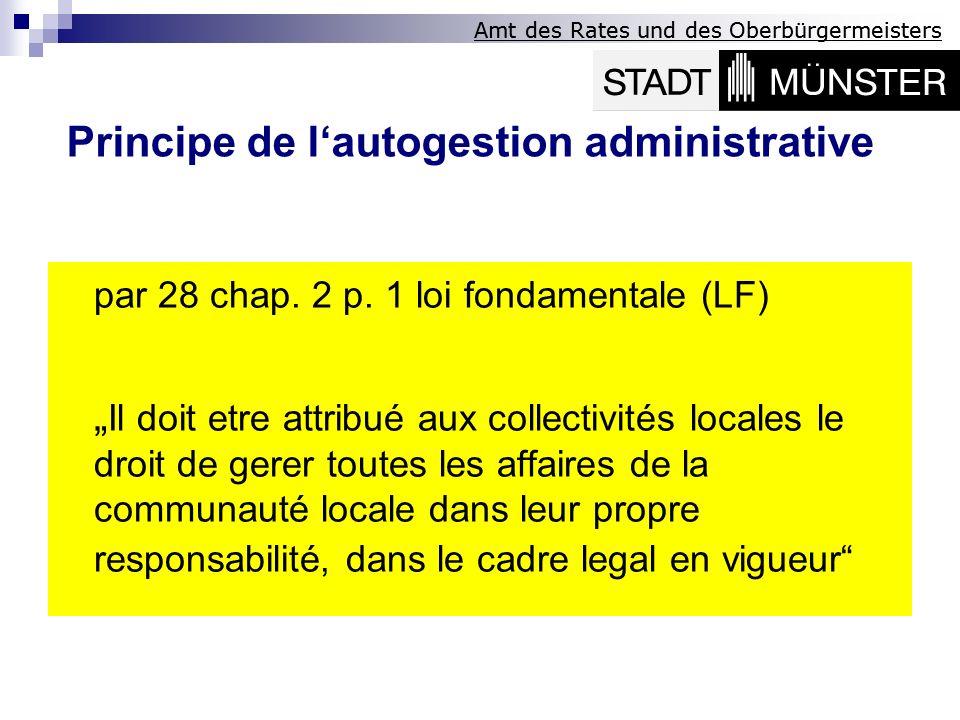 Amt des Rates und des Oberbürgermeisters par 28 chap. 2 p. 1 loi fondamentale (LF) Il doit etre attribué aux collectivités locales le droit de gerer t