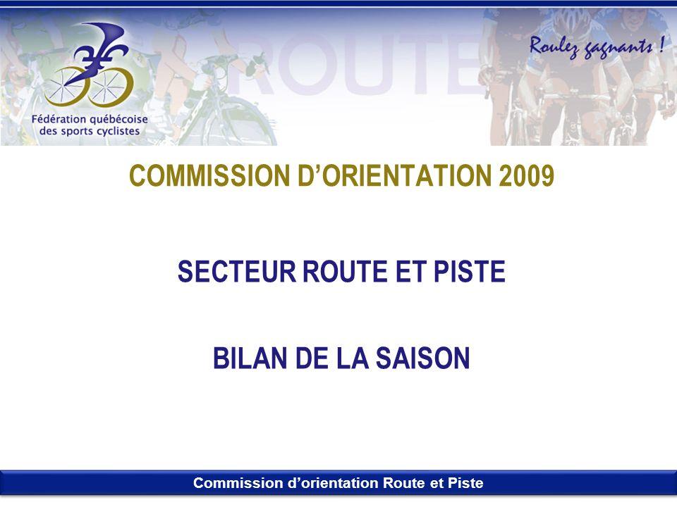 Commission dorientation Route et Piste COMMISSION DORIENTATION 2009 SECTEUR ROUTE ET PISTE BILAN DE LA SAISON