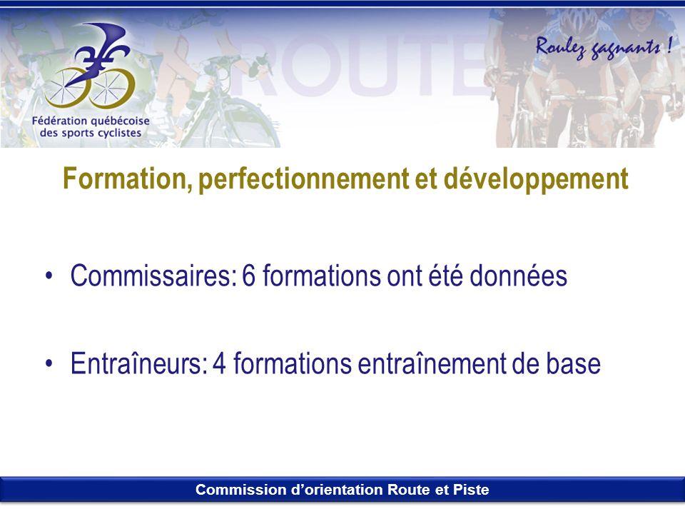 Commission dorientation Route et Piste Formation, perfectionnement et développement Commissaires: 6 formations ont été données Entraîneurs: 4 formatio