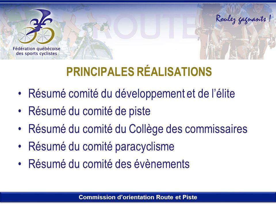 Commission dorientation Route et Piste PRINCIPALES RÉALISATIONS Résumé comité du développement et de lélite Résumé du comité de piste Résumé du comité