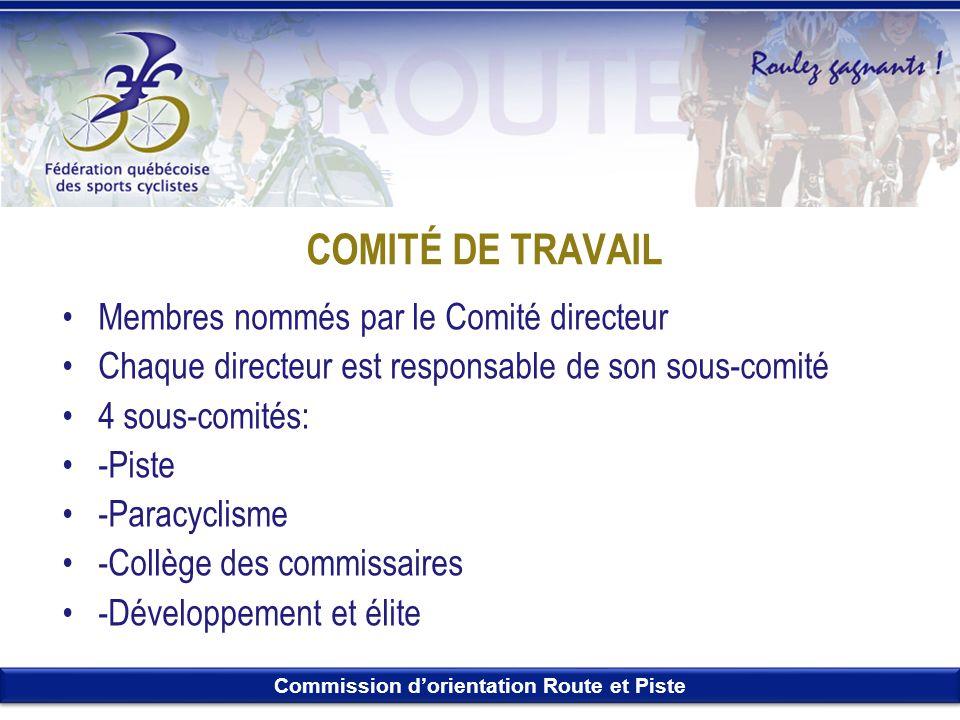 Commission dorientation Route et Piste COMITÉ DE TRAVAIL Membres nommés par le Comité directeur Chaque directeur est responsable de son sous-comité 4