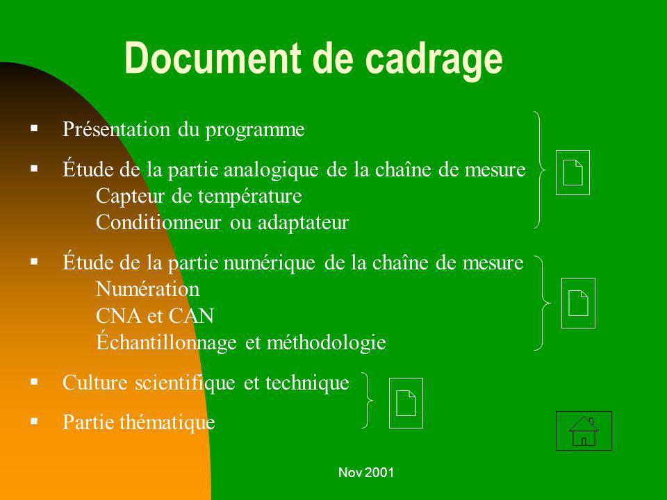Nov 2001 Document de cadrage Présentation du programme Étude de la partie analogique de la chaîne de mesure Capteur de température Conditionneur ou ad