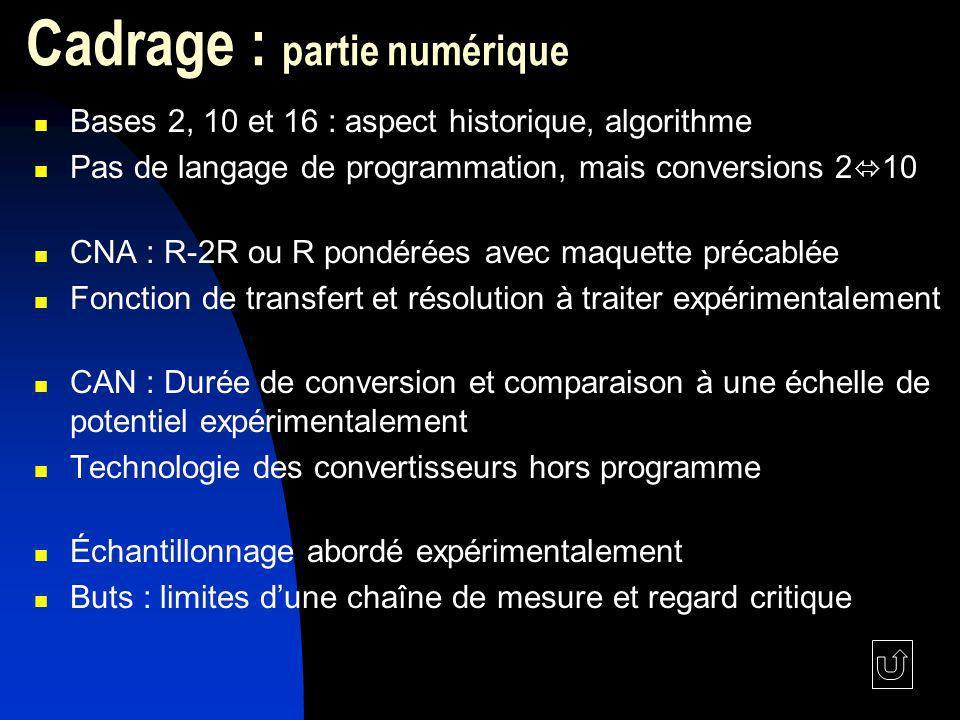 Cadrage : partie numérique Bases 2, 10 et 16 : aspect historique, algorithme Pas de langage de programmation, mais conversions 2 10 CNA : R-2R ou R po