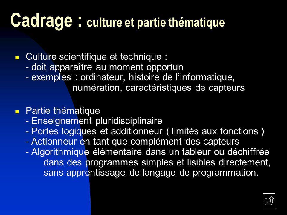 Cadrage : culture et partie thématique Culture scientifique et technique : - doit apparaître au moment opportun - exemples : ordinateur, histoire de l