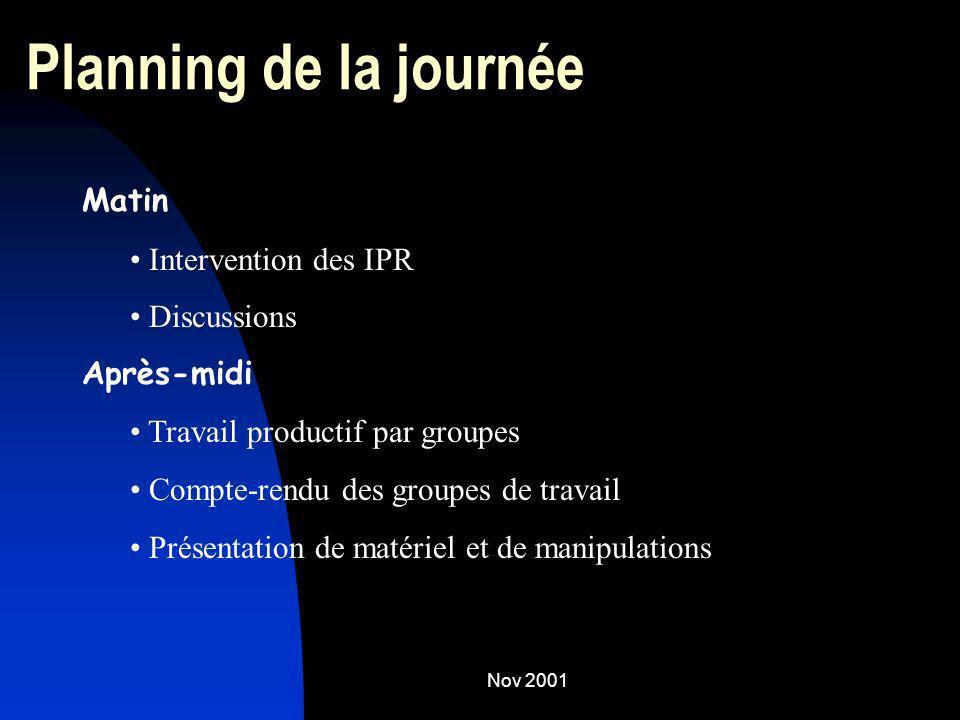 Nov 2001 Planning de la journée Matin Intervention des IPR Discussions Après-midi Travail productif par groupes Compte-rendu des groupes de travail Pr