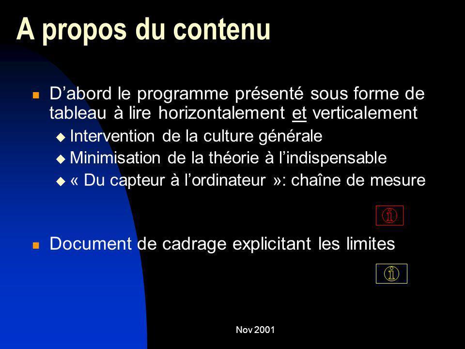 Nov 2001 A propos du contenu Dabord le programme présenté sous forme de tableau à lire horizontalement et verticalement Intervention de la culture gén