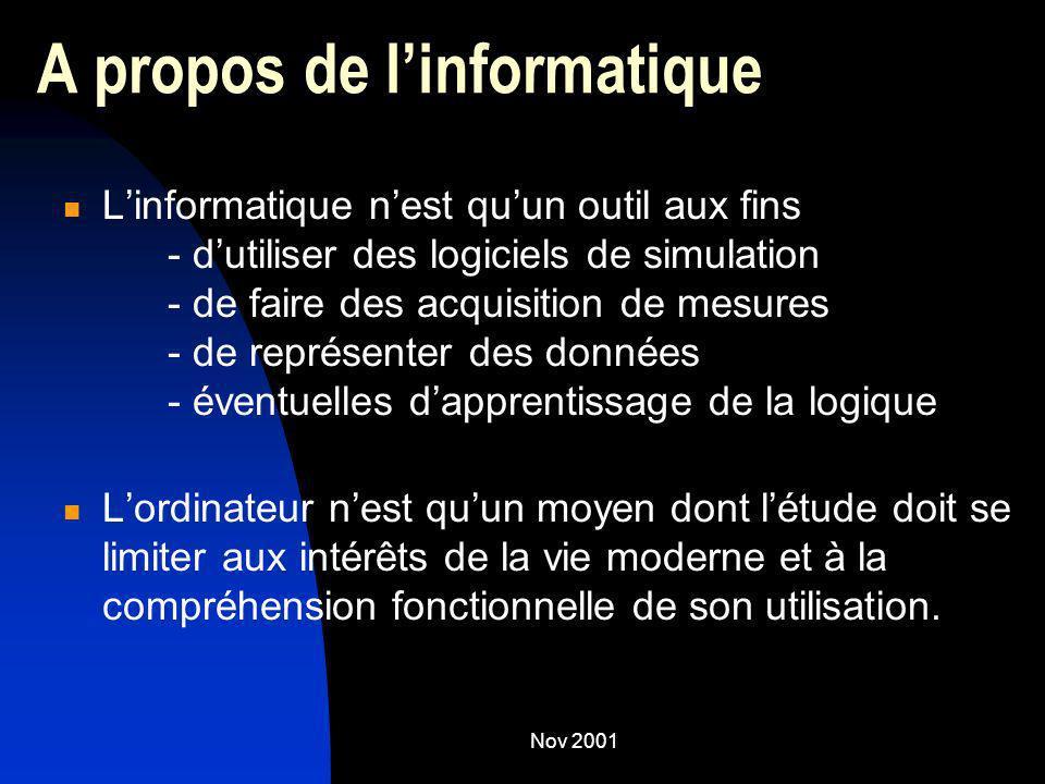 Nov 2001 A propos de linformatique Linformatique nest quun outil aux fins - dutiliser des logiciels de simulation - de faire des acquisition de mesure