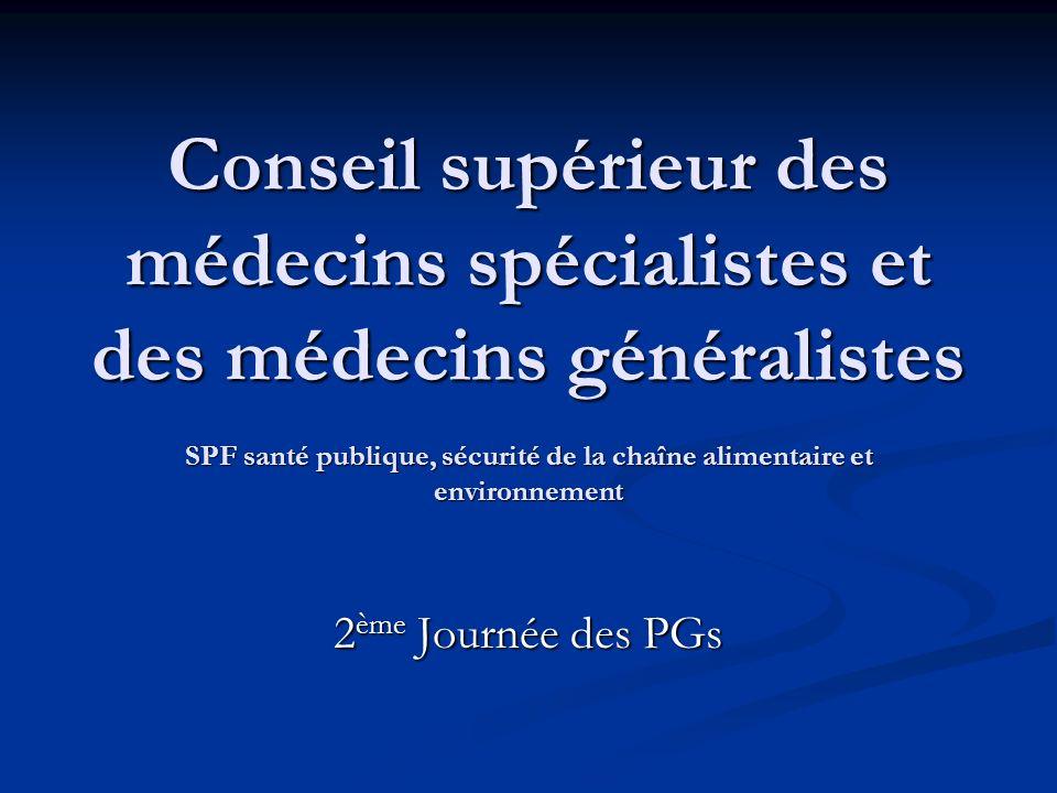 Conseil supérieur des médecins spécialistes et des médecins généralistes SPF santé publique, sécurité de la chaîne alimentaire et environnement 2 ème