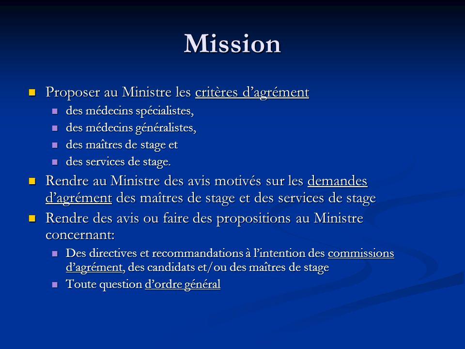 Mission Proposer au Ministre les critères dagrément Proposer au Ministre les critères dagrément des médecins spécialistes, des médecins spécialistes,